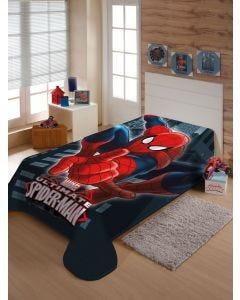 Cobertor Solteiro Infantil Raschel Homem-Aranha Jolitex - Azul