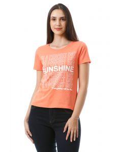 Camiseta Feminina Básica Lettering Sunshine - Laranja