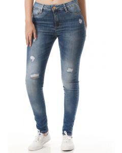 Calça Feminina Jeans Sawary Cigarrete Push Up - Azul