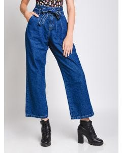 Calça Feminina Jeans Pantalona Clochard - Azul