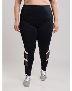 Calça Legging Plus Size Recorte Tule - Preto e Branco