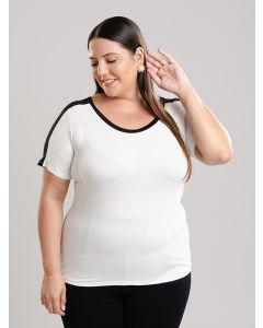Blusa Feminina Plus Size Recortes - Off White
