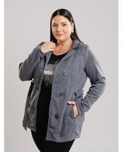 Casaco Feminino Lã Plus Size - Cinza