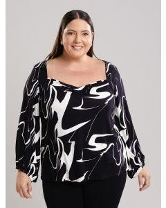 Blusa Feminina Creponada Plus Size - Preto