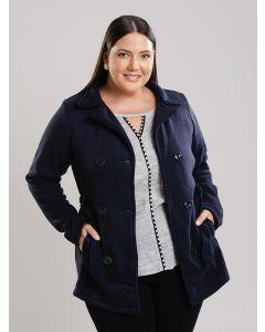 Casaco Feminino Lã Plus Size - Azul