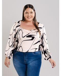 Blusa Feminina Creponada Plus Size - Rosa