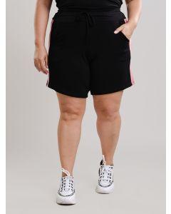 Short Feminino Plus Size Malha - Preto e Rosa