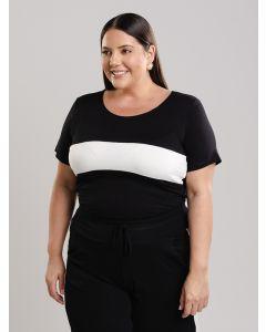 Blusa Feminina Plus Size de Malha Preto e Branco
