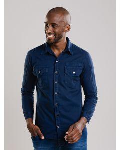 Camisa Masculina Jeans Botões - Azul