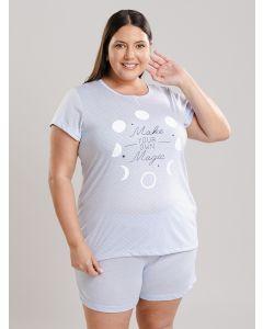 Pijama Feminino Plus Size Luas - Azul