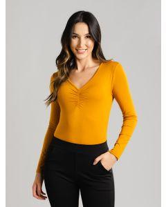 Blusa Feminina Drapeado - Amarelo