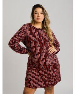 Vestido Plus Size Estampa Geométrica - Marrom