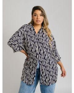 Camisa Feminina Plus Size Estampada - Bege