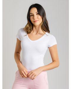 Blusa Feminina Decote V - Branco