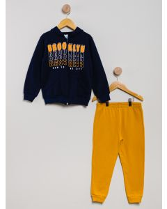 Conjunto Moletom Aberto Menino Brooklyn - Azul-Marinho/ Amarelo