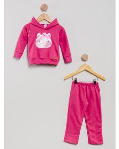 Conjunto Moletom Infantil Gatinha - Rosa
