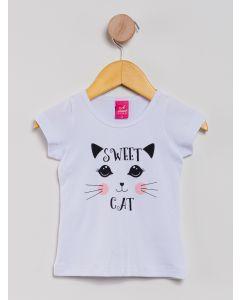 Blusa Infantil Menina Gatinho - Branco