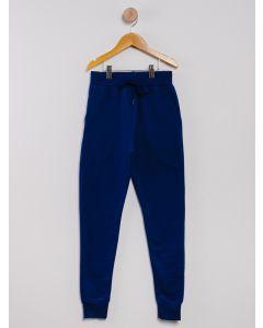 Calça Moletom Juvenil Menina Cordão - Azul-Marinho