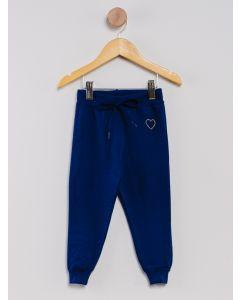 Calça Moletom Menina Strass - Azul-Marinho