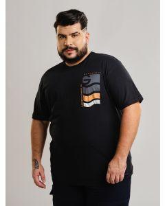 Camiseta Masculina Estampa Costas Plus Size - Preto