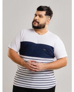 Camiseta Masculina Listrada Plus Size - Branco e Azul