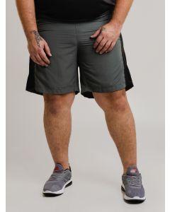 Bermuda Masculina Esportivo Recortes Plus Size - Cinza