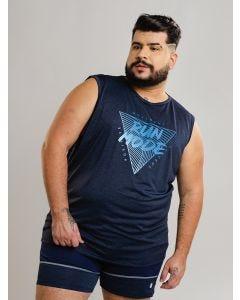 Regata Masculina Esportiva Run Plus Size - Azul