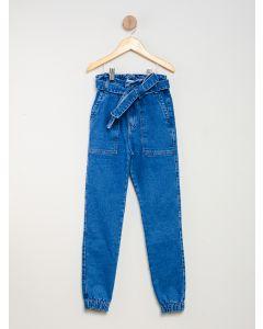 Calça Jeans Menina Jogger com Cinto Faixa - Azul