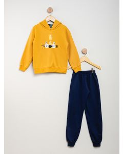 Conjunto Moletom Fechado Tigre - Amarelo / Azul-Marinho
