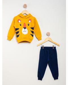 Conjunto Moletom Fechado Menino Tigre - Amarelo e Azul