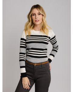 Suéter Feminino Listrado - Branco