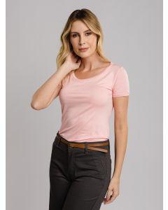 Camiseta Básica Gola Careca - Rosa