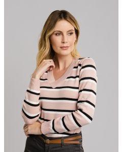 Suéter Feminino Listras - Rosa