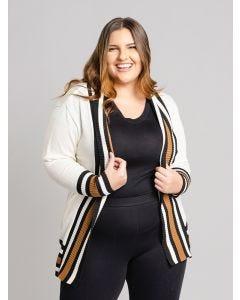 Casaco Feminino Plus Size Tricot - Off White