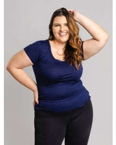 Blusa Feminina Plus Size Gola V - Azul