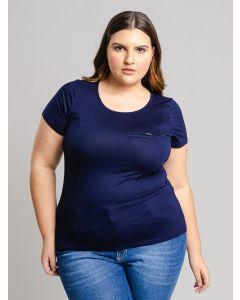 Blusa Feminina Plus Size Bolso Falso - Azul