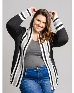 Casaco Feminino Plus Size Tricot - Preto