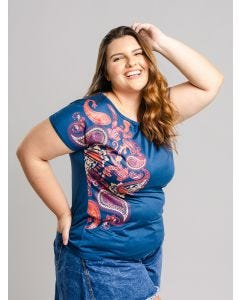 Blusa Feminina Plus Size Estampada - Azul