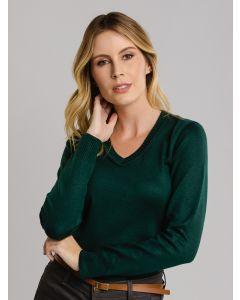 Suéter Feminino Decote V - Verde