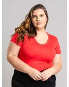 Blusa Feminina Plus Size Básica Gola V - Vermelho