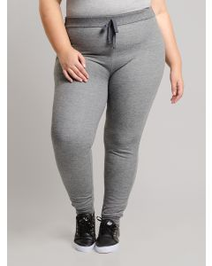 Calça Feminina Plus Size Moletom - Cinza