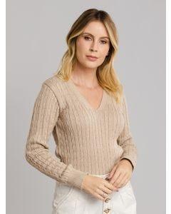 Suéter Feminino Trançado - Bege