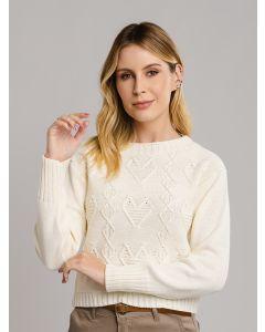 Suéter de Tricot Fechado - Bege