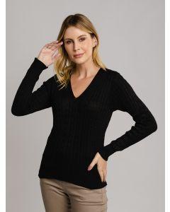 Suéter Feminino Trançado - Preto