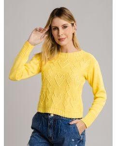 Suéter de Tricot Fechado - Amarelo