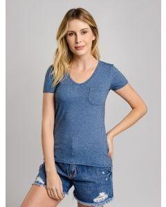 Blusa Feminina Mullet com Bolso Lunender - Azul