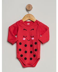 Body Bebê Manga Longa Estampado - Vermelho