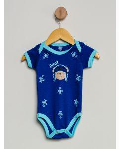 Body Bebê Manga Curta - Azul-Marinho