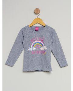 Blusa Infantil Menina Rainbow - Cinza
