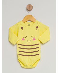 Body Bebê Manga Longa Estampado - Amarelo